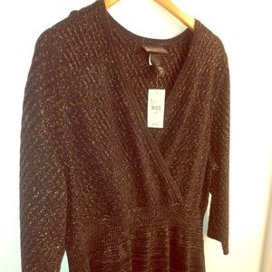 NWT Lane Bryant Sweater Dress (Black and Gold)